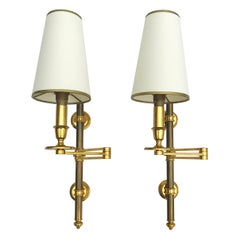 Pair of Maison Jansen Swing Arm Sconces, 3 pairs Available, Priced by Pair