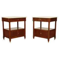 Pair of Maison Jansen Two-Tier Mahogany Side Tables with Marble Tops, circa 1940