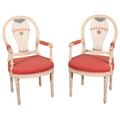 Pair of Maison Jansen White Paint Decorated Dining Armchairs, C1950