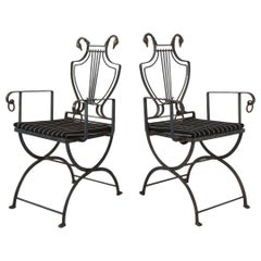 Pair of Maison Jansen Wrought Iron Lyre-Back Arm Chairs with Swan Heads