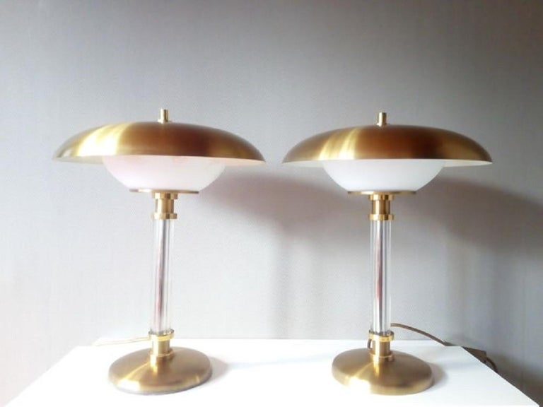 Pair of Brass Glass Two-Light Tabe Lamps by Maison Lucien Gau, Paris 1970s 2