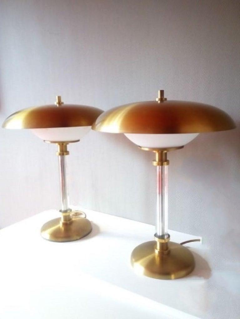 Paar zweiarmige Tischlampen aus Messing und Glas, Maison Lucien Gau, Frankreich, 1970er Jahre 3