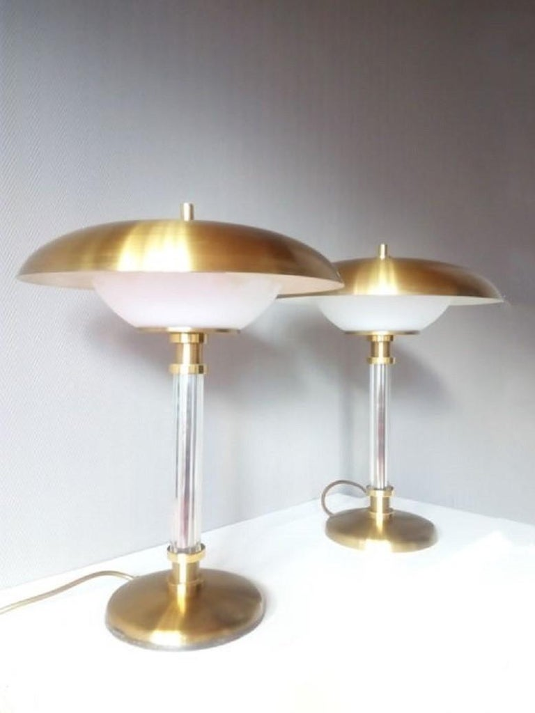 Pair of Brass Glass Two-Light Tabe Lamps by Maison Lucien Gau, Paris 1970s 4