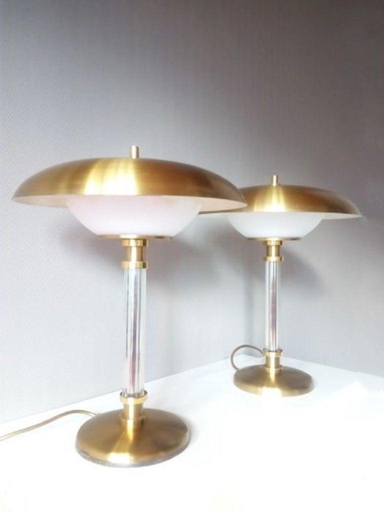 Paar zweiarmige Tischlampen aus Messing und Glas, Maison Lucien Gau, Frankreich, 1970er Jahre 4