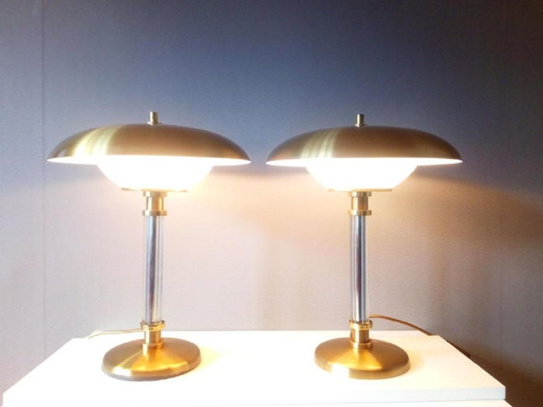 Pair of Brass Glass Two-Light Tabe Lamps by Maison Lucien Gau, Paris 1970s 5
