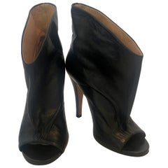 Pair of Maison Martin Margiala Black Open Toe Ankle Boots w/ Wide Unfitted Top