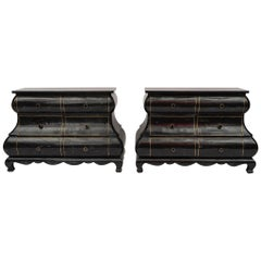 Pair of Maitland Smith Black Tessellated Bombay Chests
