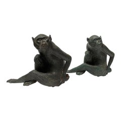 Pair of Maitland Smith Bronze Monkey Door Stops, Bookends, Paper Weights