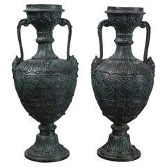 Pair of Maitland Smith Bronze Urns
