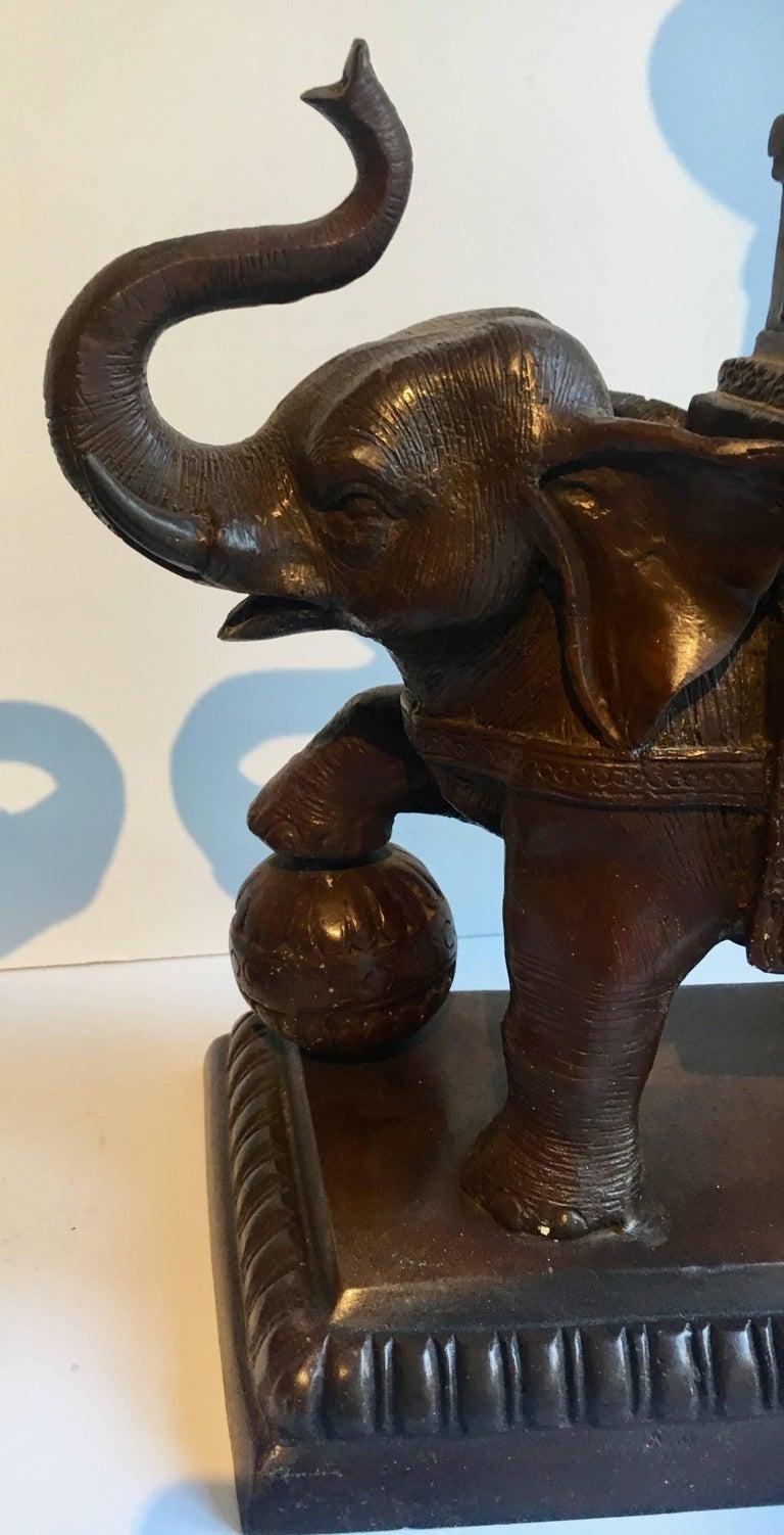 Thai Pair Of Maitland Smith Elephant Candlesticks For