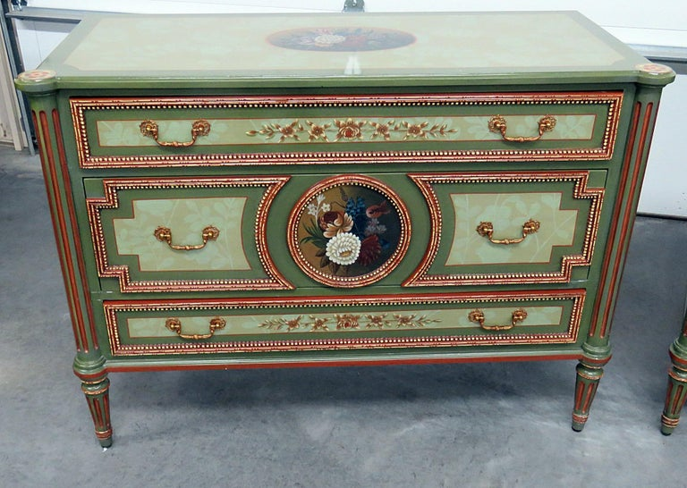 Pair of Maitland Smith Louis XVI style paint decorated 3-drawer commodes.