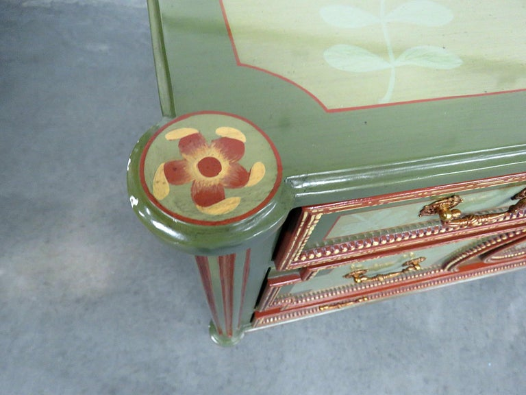 Painted Pair of Maitland Smith Louis XVI Style Commodes
