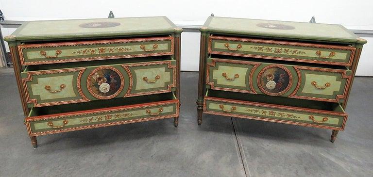 20th Century Pair of Maitland Smith Louis XVI Style Commodes