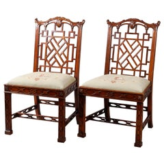Pair of Maitland Smith Mahogany Chinese Chippendale Side Chairs, circa 1940