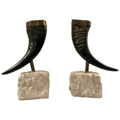 Pair of Maitland Smith Mounted Horns