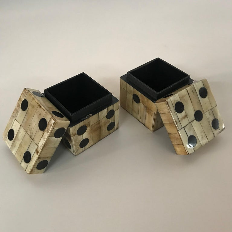 Tessellated camel bone boxes lined with black velvet, finished on all sides.