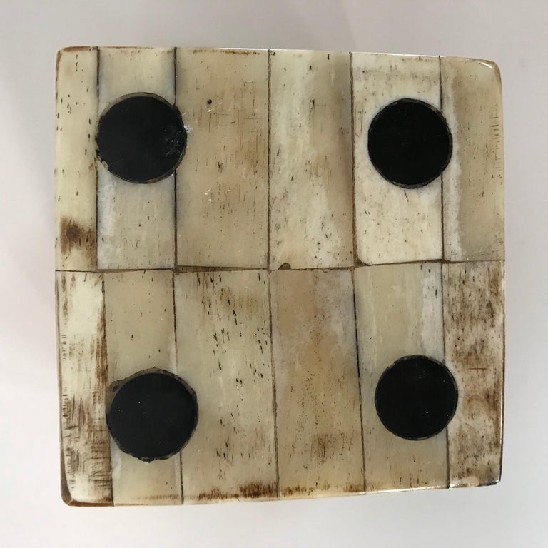 20th Century Pair of Maitland-Smith Tessellated Camel Bone Dice Boxes