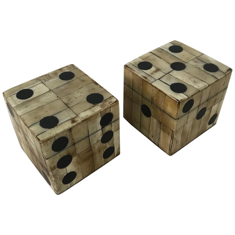 Pair of Maitland-Smith Tessellated Camel Bone Dice Boxes