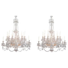 Pair of Majestic mid-Victorian 24-Light Cut Crystal Chandeliers