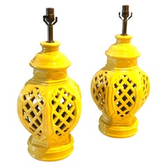 Pair of Majestic Yellow Ceramic Large Table Lamps Moroccan Style