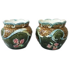 Pair of Majolica Orchid Cache Pots Fives Lille, circa 1890