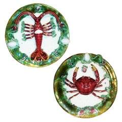 Pair of Majolica Portuguese Palissy Lobster and Crab  Platters, circa 1940