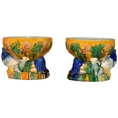 "Pair of Majolica ""Punch"" Bowls"