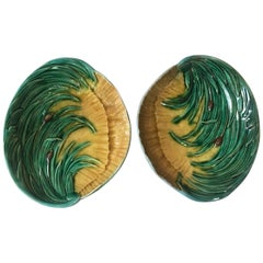 Pair of Majolica Shells Platters with Reeds, circa 1880