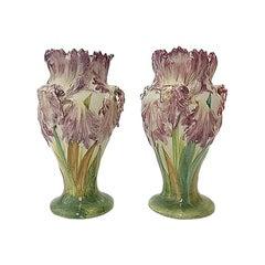 Pair of Majolica Tulip Vases Delphin Massier, circa 1880
