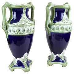 Pair of Majolica Vases by J. B. De Bruyne, France, circa 1910