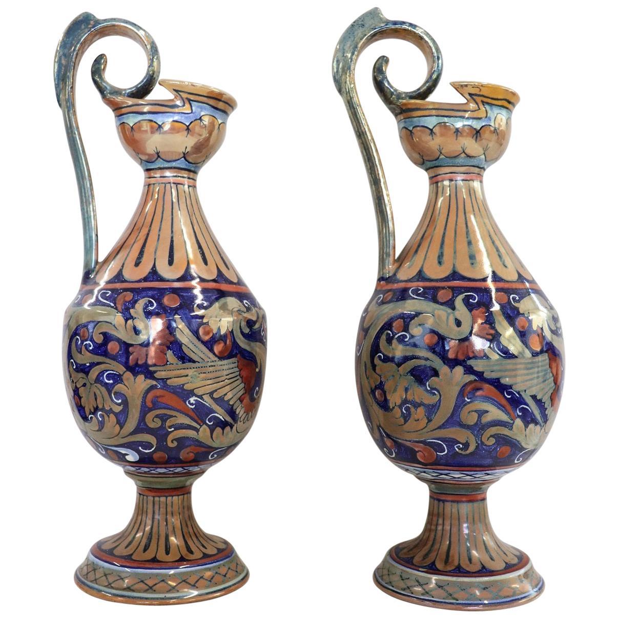Pair of Majolica Vases with Blue Decorations by Gualdo Tadino, 1920s