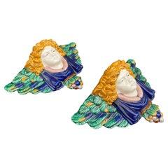 Pair of Majolica Winged Angel Wall Brackets