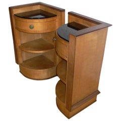pair of Majorelle sycamore side tables
