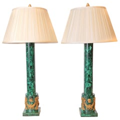 Pair of Malachite and Gilt Bronze Classical Column Lamps