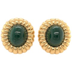 Pair of Malachite and Gold Earrings