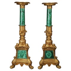 Pair of Malachite and Ormolu Torchere by Pierre-Philippe Thomire