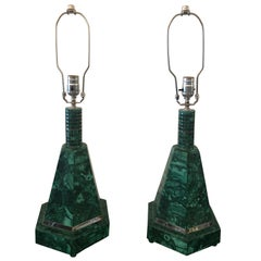 Pair of Malachite Lighthouse Lamps