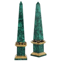 Pair of Malachite Obelisks with Turtle Mounts