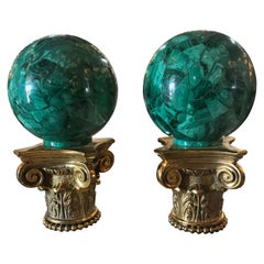 Pair of Malachite Spheres on Bronze Base