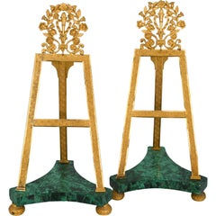 Pair of Malachite Stands, St.Petersburg Early 19th Century, Fire Gilded Bronze