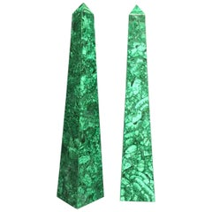 Pair of Malachite Veneered Obelisk Points