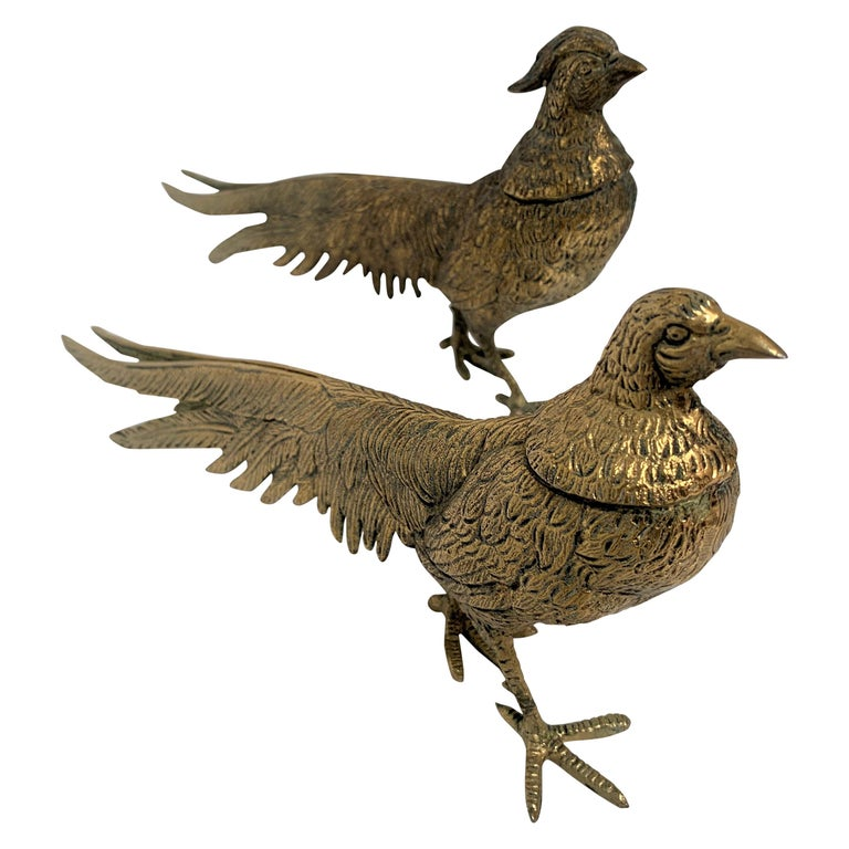 Pair of Male and Female Brass Pheasants For Sale