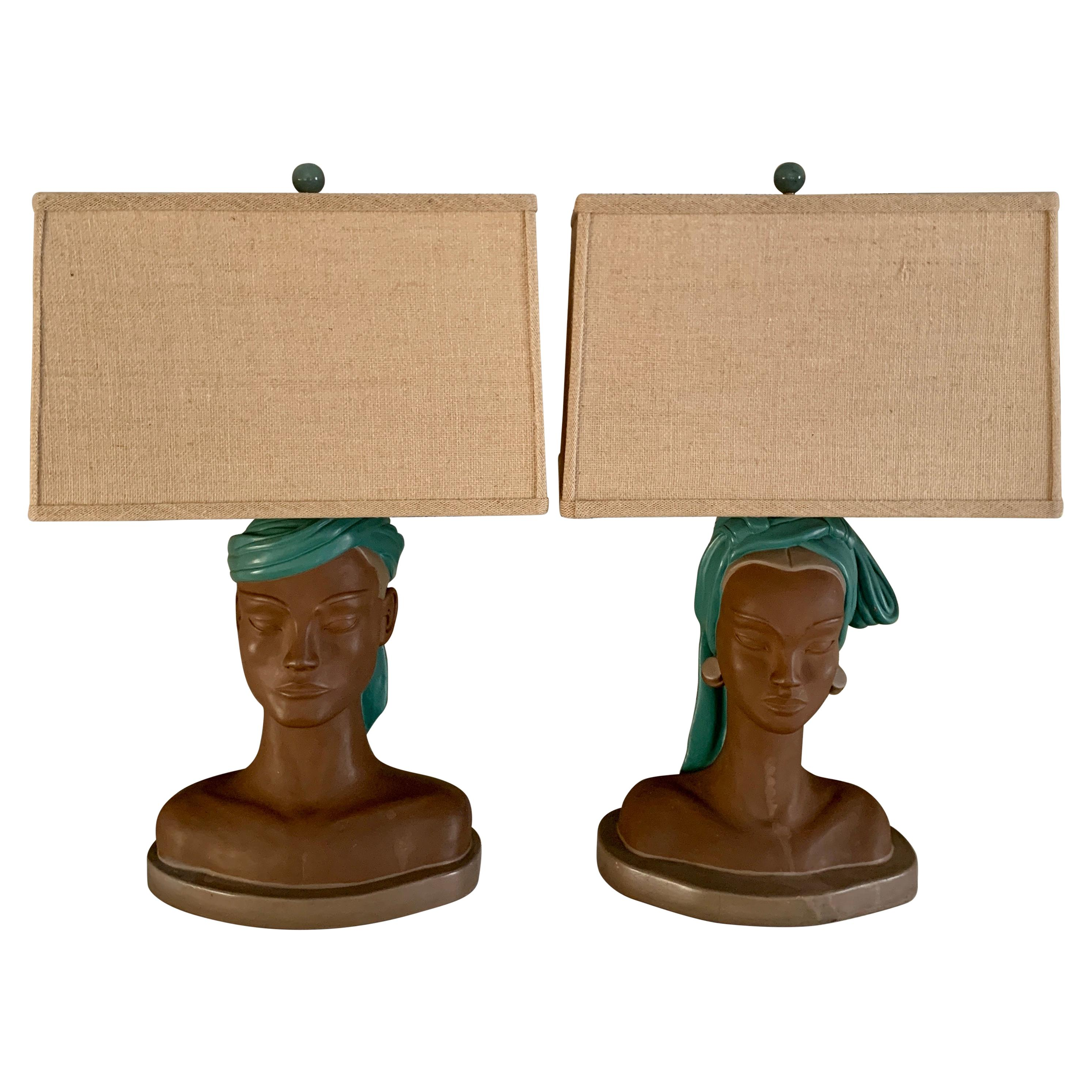 Pair of Male and Female Bust Lamps with Custom Shades
