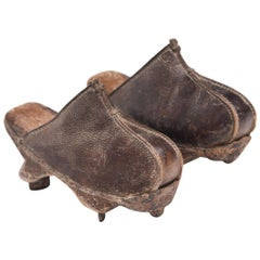 Pair of Manchu Leather Ice Shoes, circa 1900