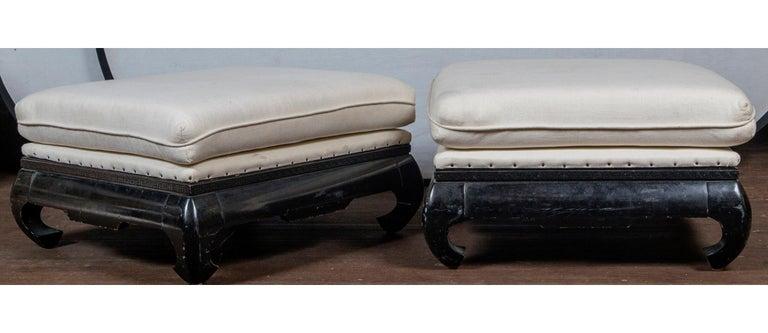 Pair of Mandarin/Asian Upholstered Ottomans For Sale 4