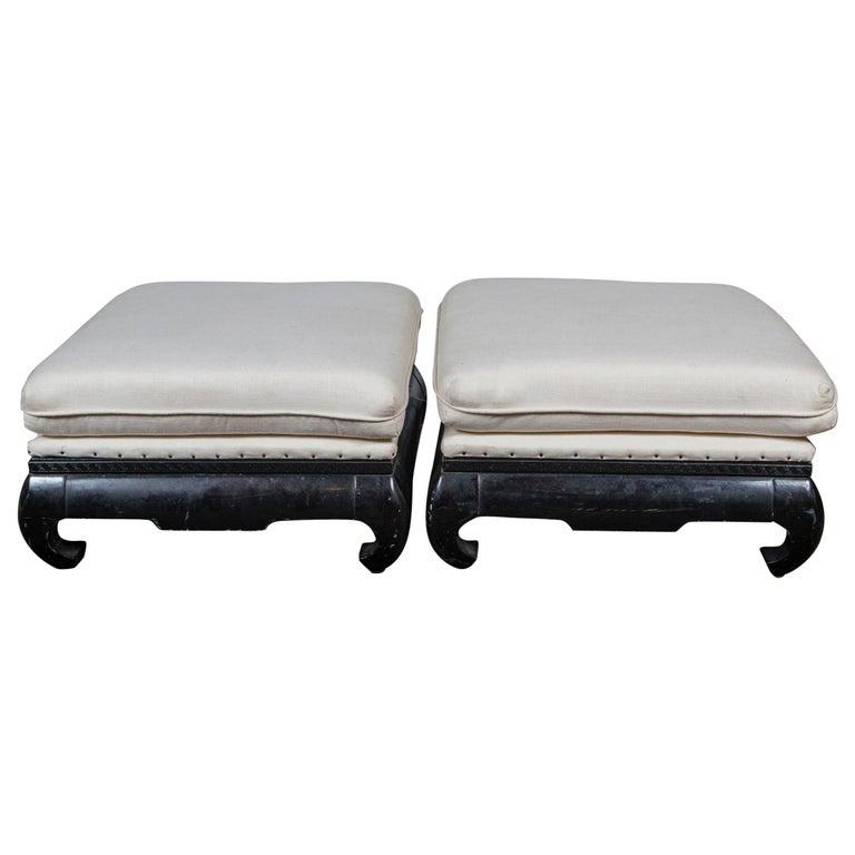 Pair of Mandarin/Asian Upholstered Ottomans For Sale
