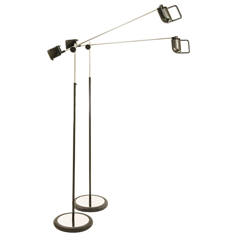 Pair of Maniglia Floor Lamps by De Pas, D'Urbino and Lomazzi for Stilnovo, 1970s