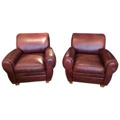 Pair of Manly Rich Leather Classic Club Chairs
