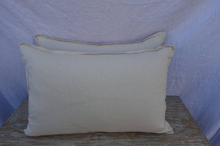 Italian Pair of Manzianno Patterned Fortuny Pillows For Sale