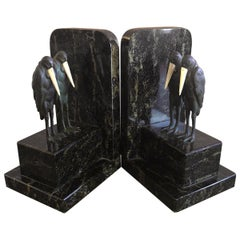 Pair of Marabou Stork Art Deco Bookends in the Style of Marcel-Andre' Bouraine